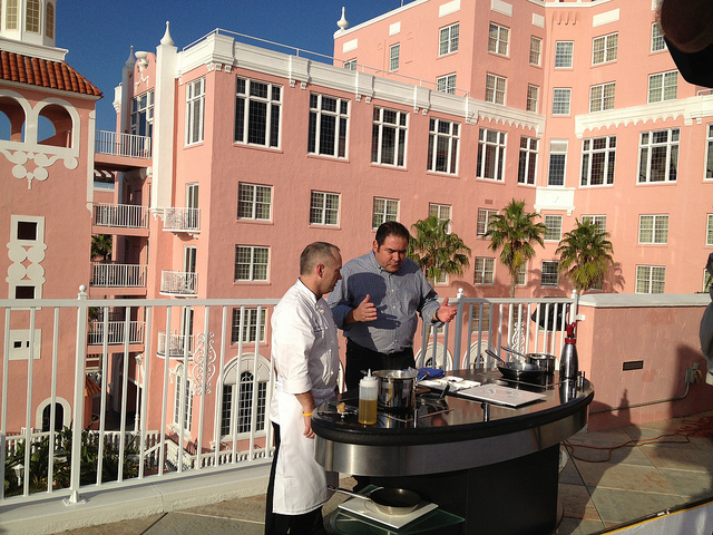 Emeril filming outside the iconic Don Cesar.