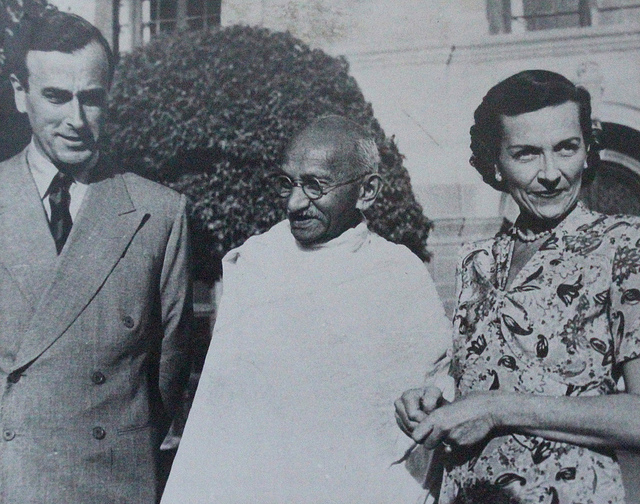 Gandhi with Lord and Edwina Mountbatten