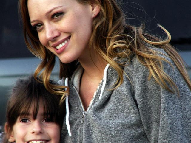 Hilary Meets Her Little Fan