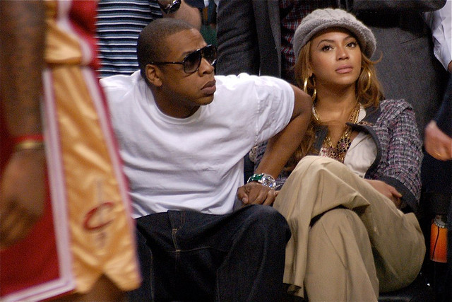 Jay-Z and Beyonce enjoying the front row