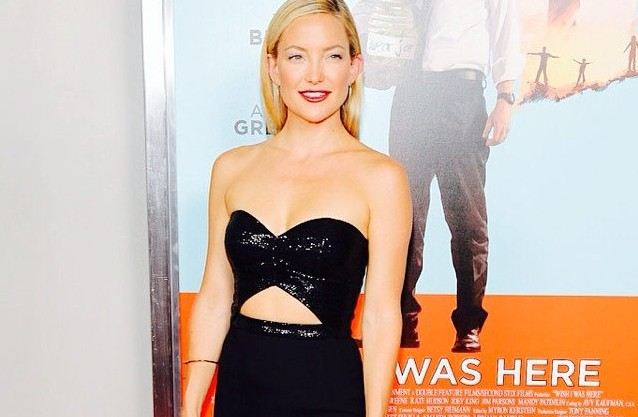 Kate Hudson brought the drama in a bold, cutout strapless gown at the NYC premiere of Wish I Was Here. #katehudson